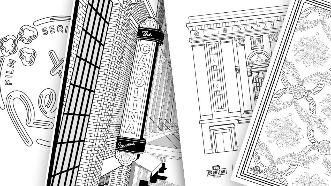 Four coloring pages are displayed: The Retro logo, the neon Carolina marquee, the Carolina Theatre facade, and the Carolina Theatre rug pattern.