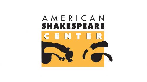 The logo reads AMERICAN SHAKESPEARE CENTER over a yellow box featuring a man's eyes and eyebrows.